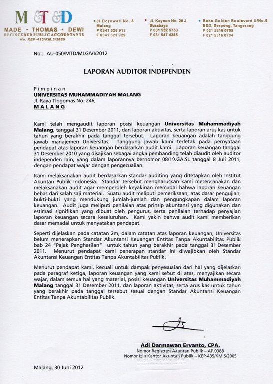 تقرير التدقيق Biro Administrasi Keuangan جامعة محمدية مالانج